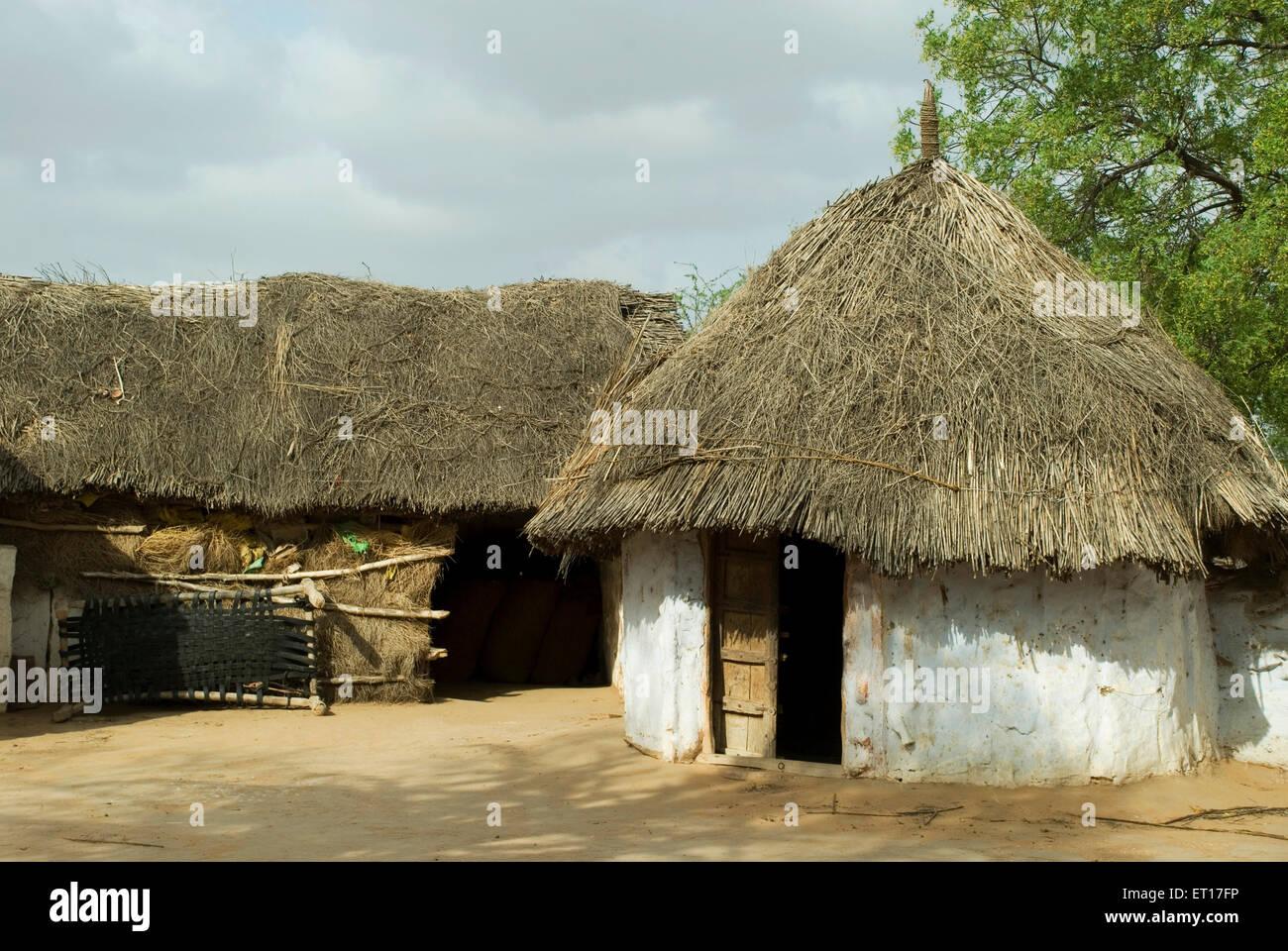Mud hut tivary jodhpur rajasthan india stock image