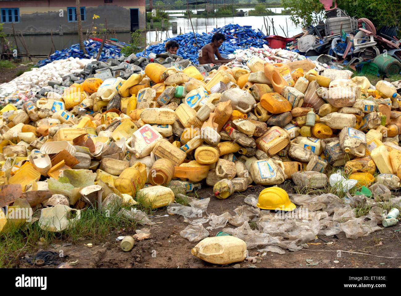 Plastic junk waste on Redskin Islands ; Andaman Nicobar Islands ; Bay of Bengal ; India October 2008 - Stock Image