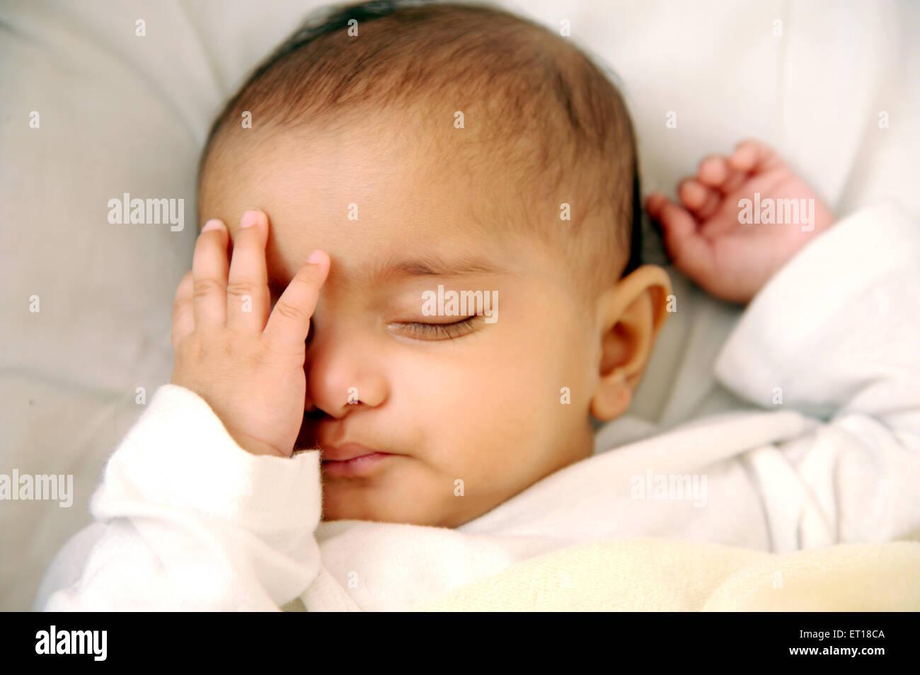 Indian Baby Boy Child Sleeping Hand On Eyes Mr 736la Stock Photo Alamy