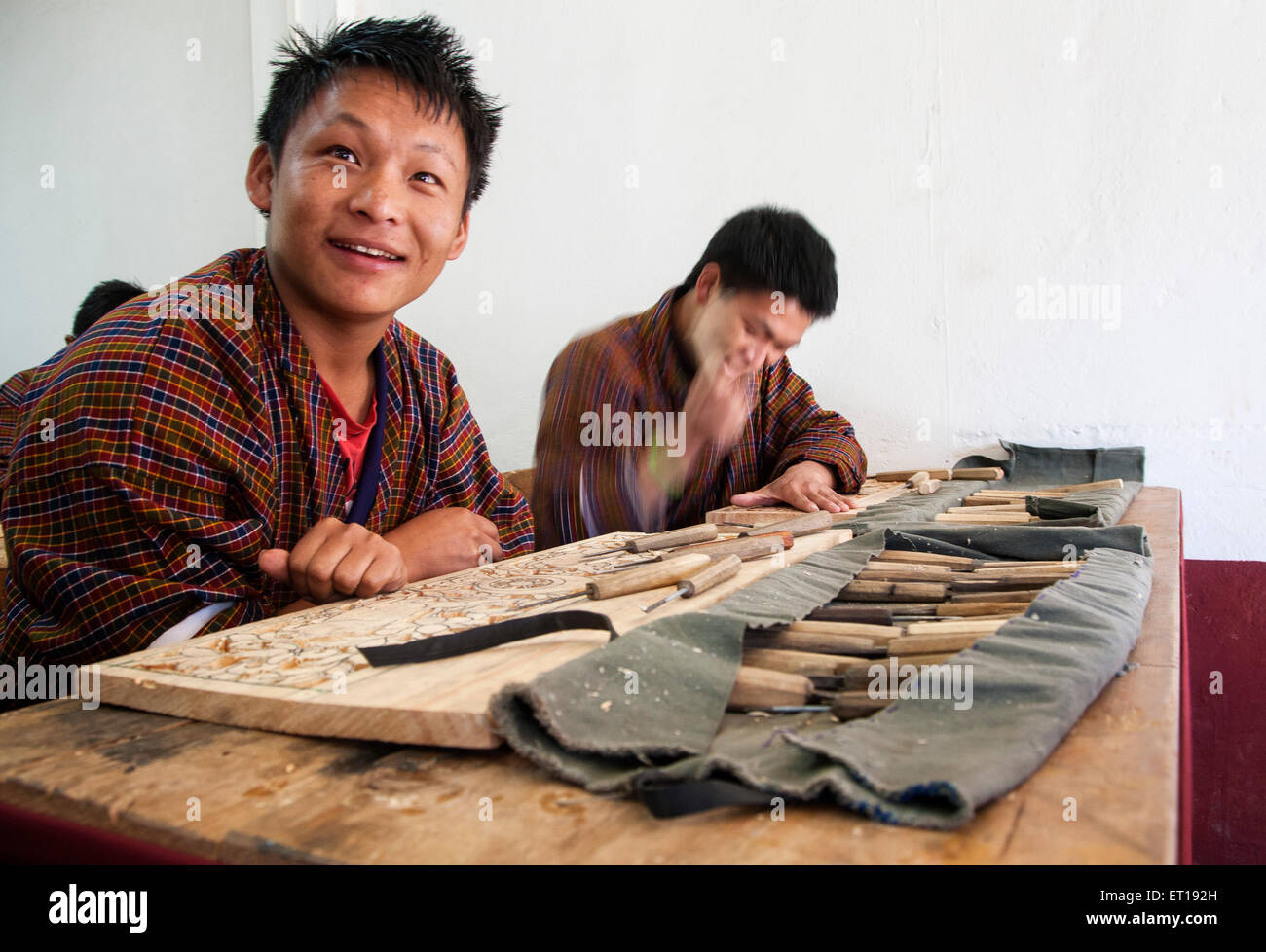 Students at the art school in Thimphu, Bhutan. - Stock Image