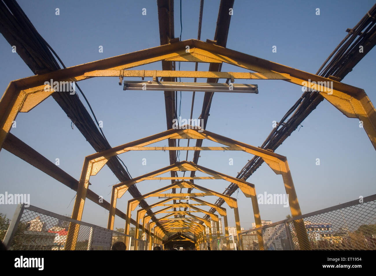 Steel structure under construction bridge ; Borivali ; Bombay Mumbai ; Maharashtra ; India Stock Photo