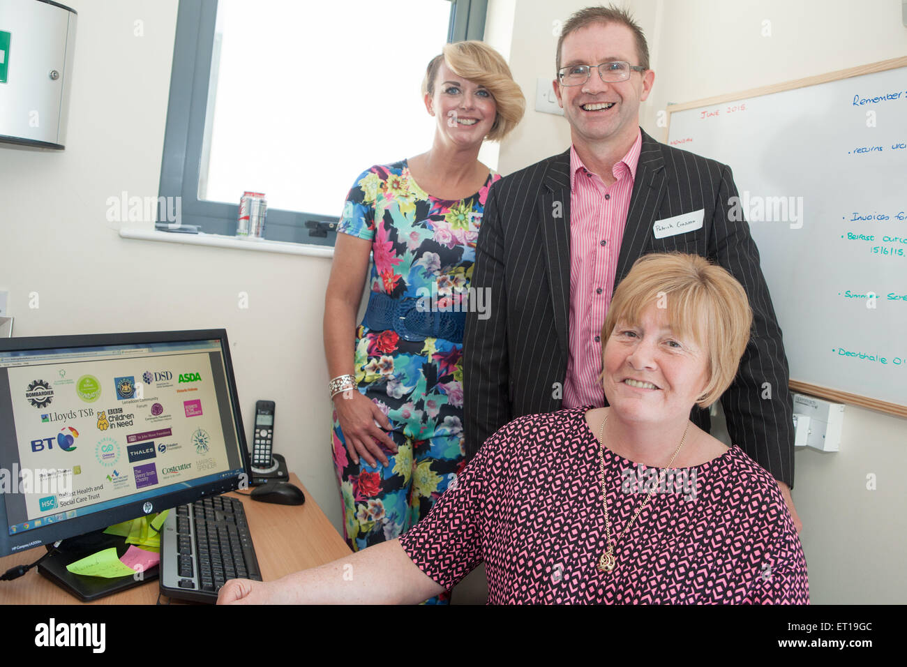 Belfast, UK. 10th June 2015 Pamala Hughes Project Manager (L) Patrick Crossan from BT (C) and Mairead McCrea Coordinator - Stock Image
