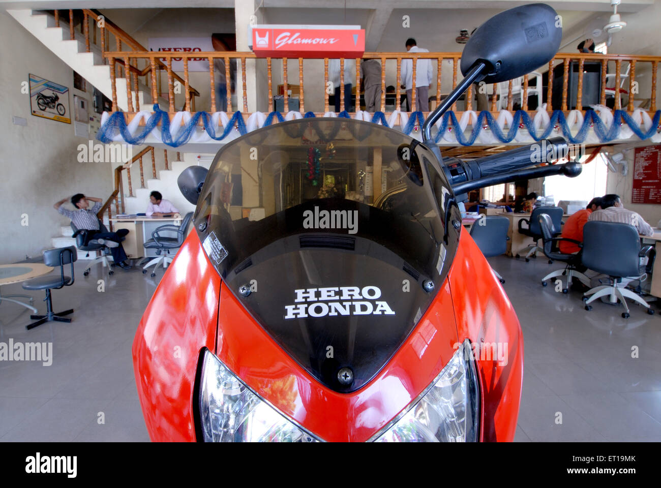 Bike parked in showroom - Stock Image
