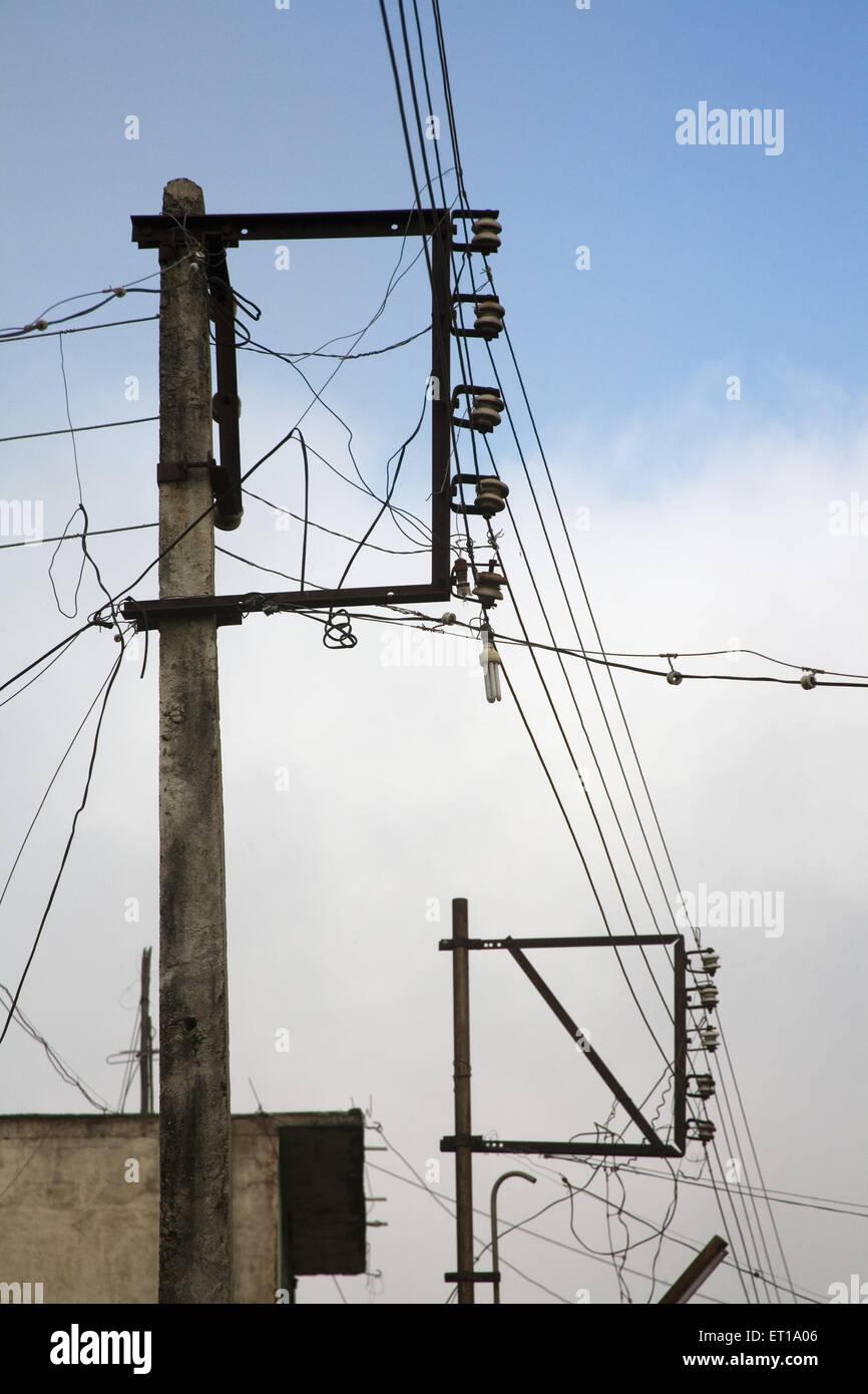 Electric pole ; Nandur ; Marathwada ; Maharashtra ; India - Stock Image