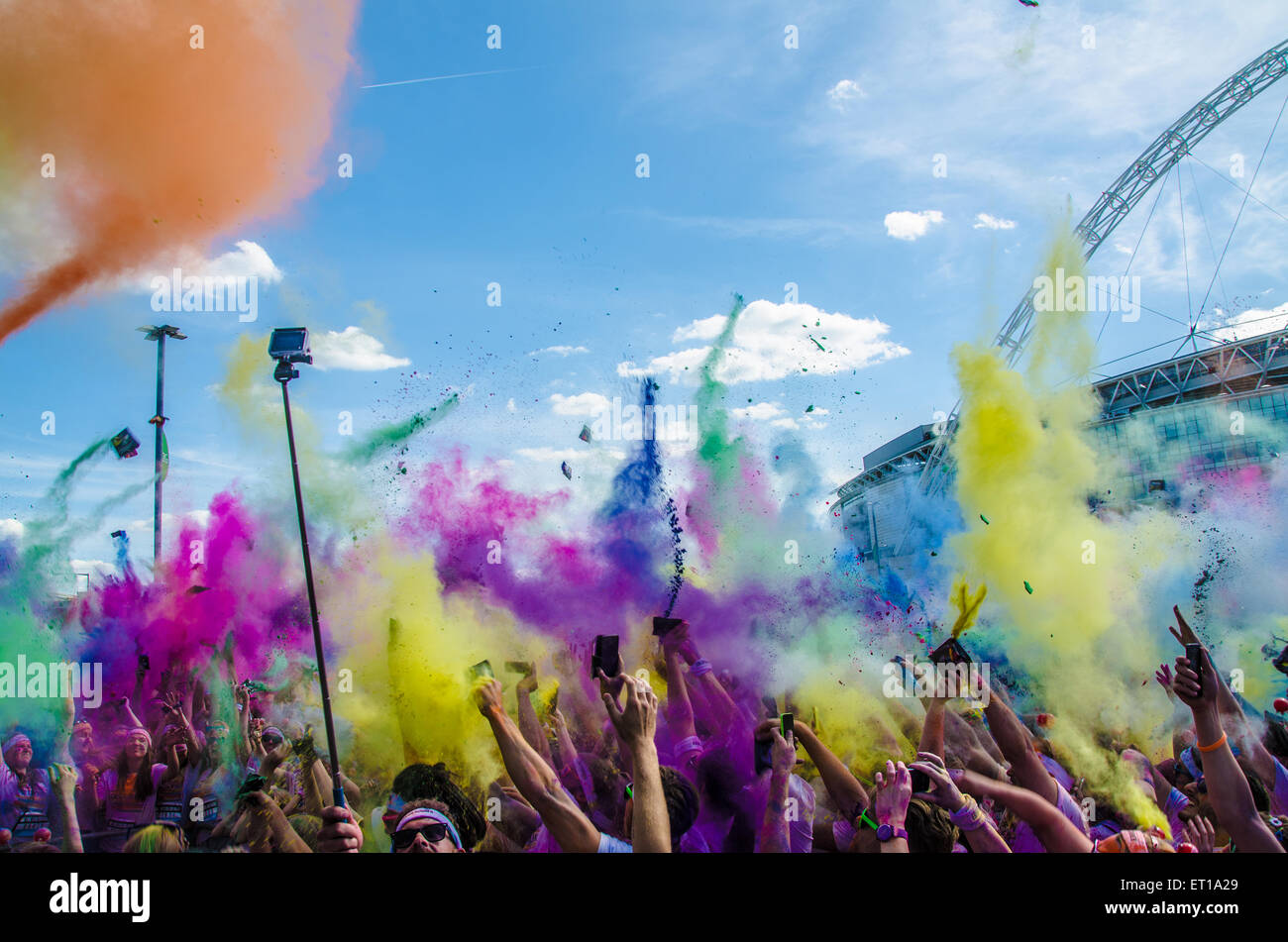 The Color Run finale event with explosions of colour. Wembley London. Space for copy - Stock Image