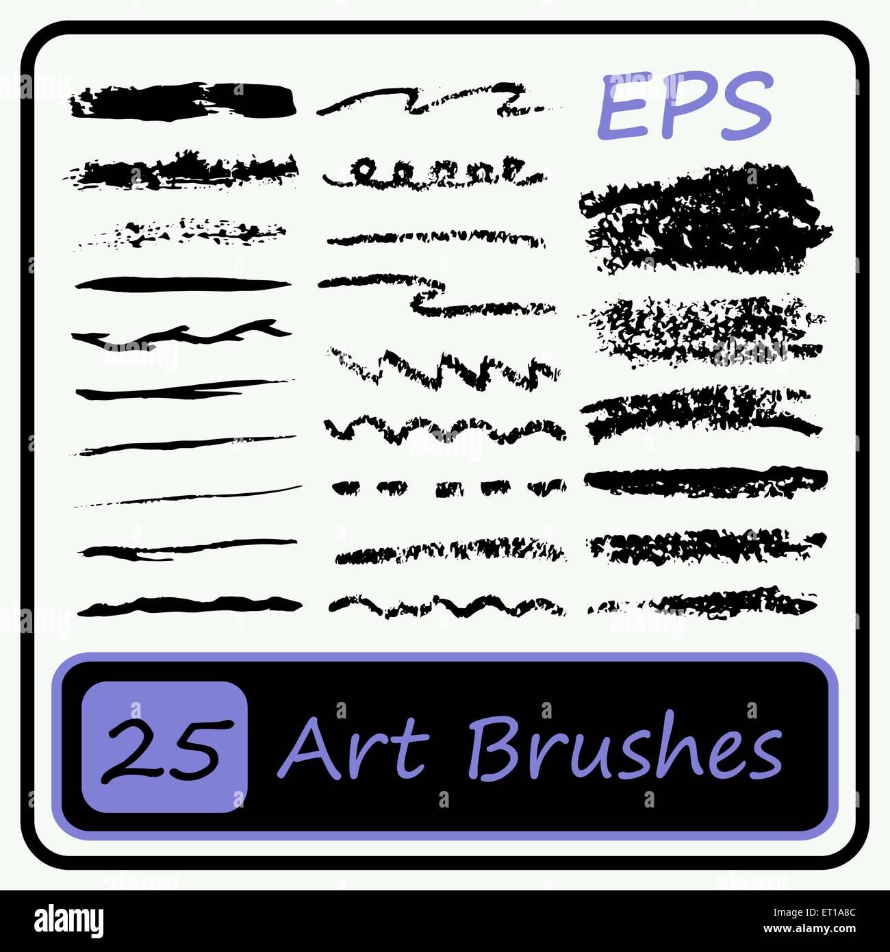 Art Brushes set - Black color - Vector Illustration - Stock Image