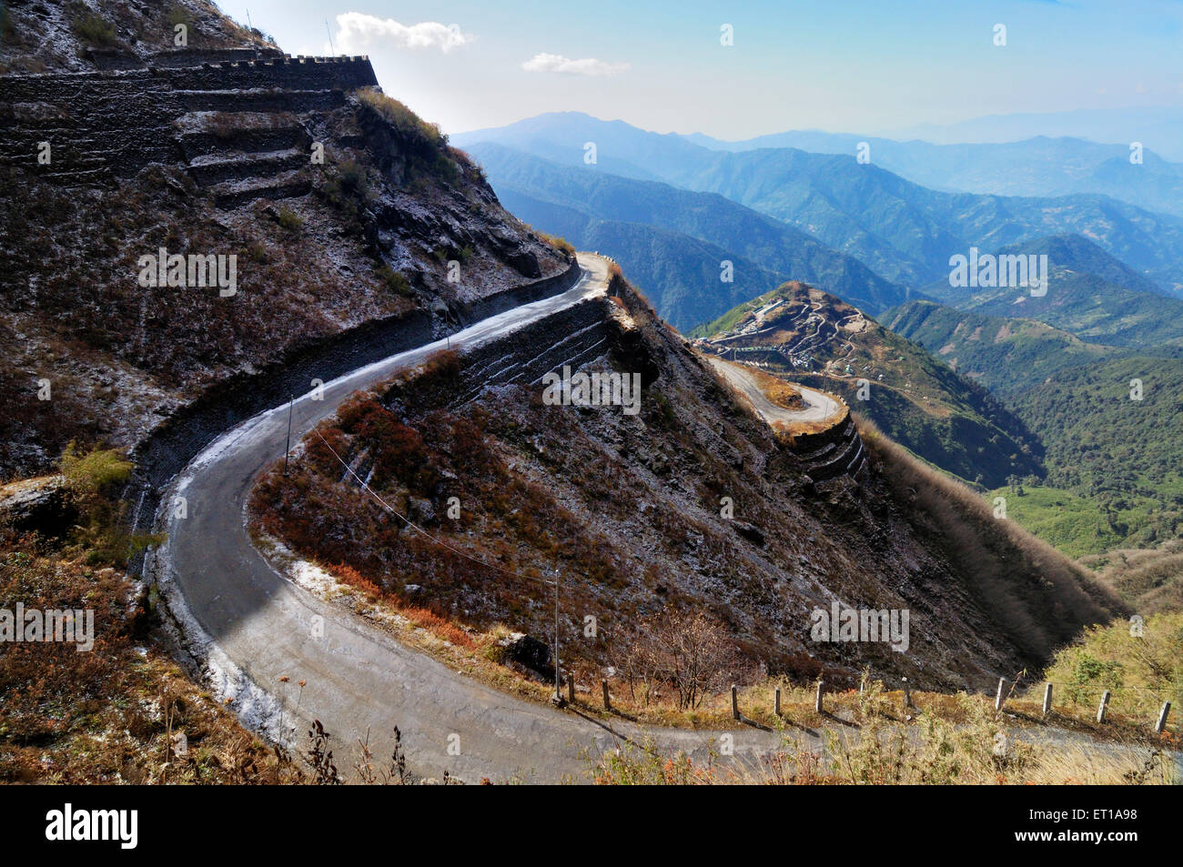 Snowfall on Old Silk Route Zuluk (Dzuluk) Sikkim India Asia - Stock Image