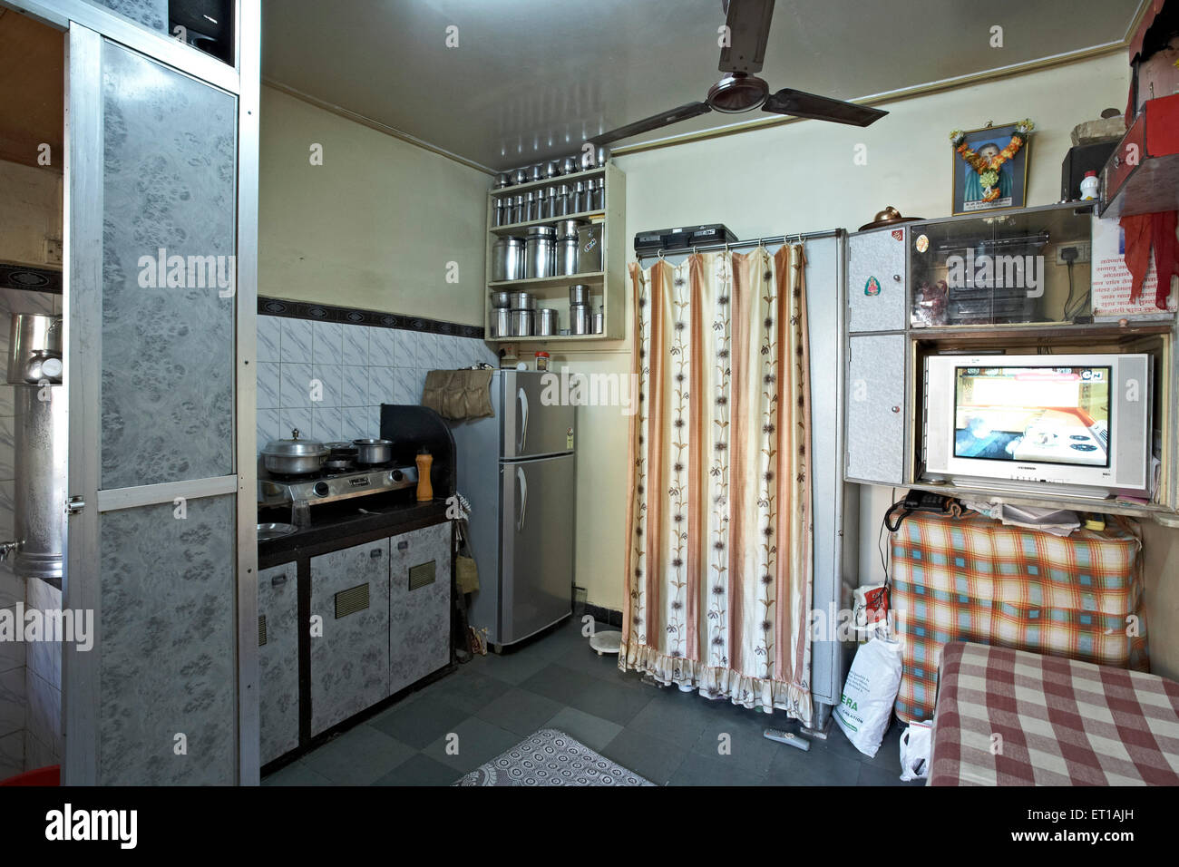 One Room House with a Bathroom Textile mill Chawl Mumbai India Asia
