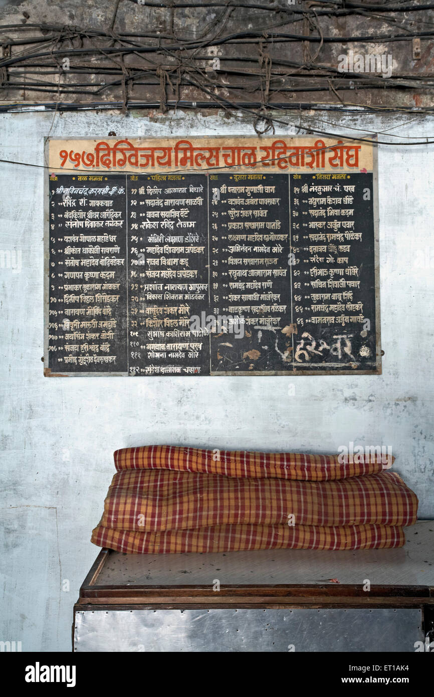 Board at the entrance with names of all residents textile mill chawl Mumbai India Asia - Stock Image
