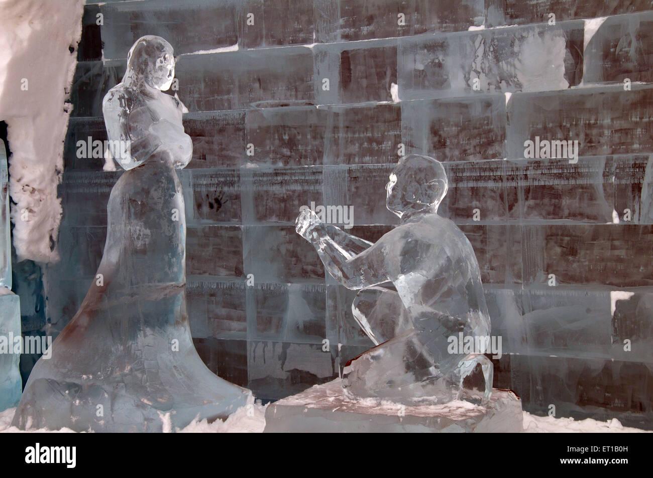 Sculptures of Ice in ice hotel Kiruna Sweden - Stock Image