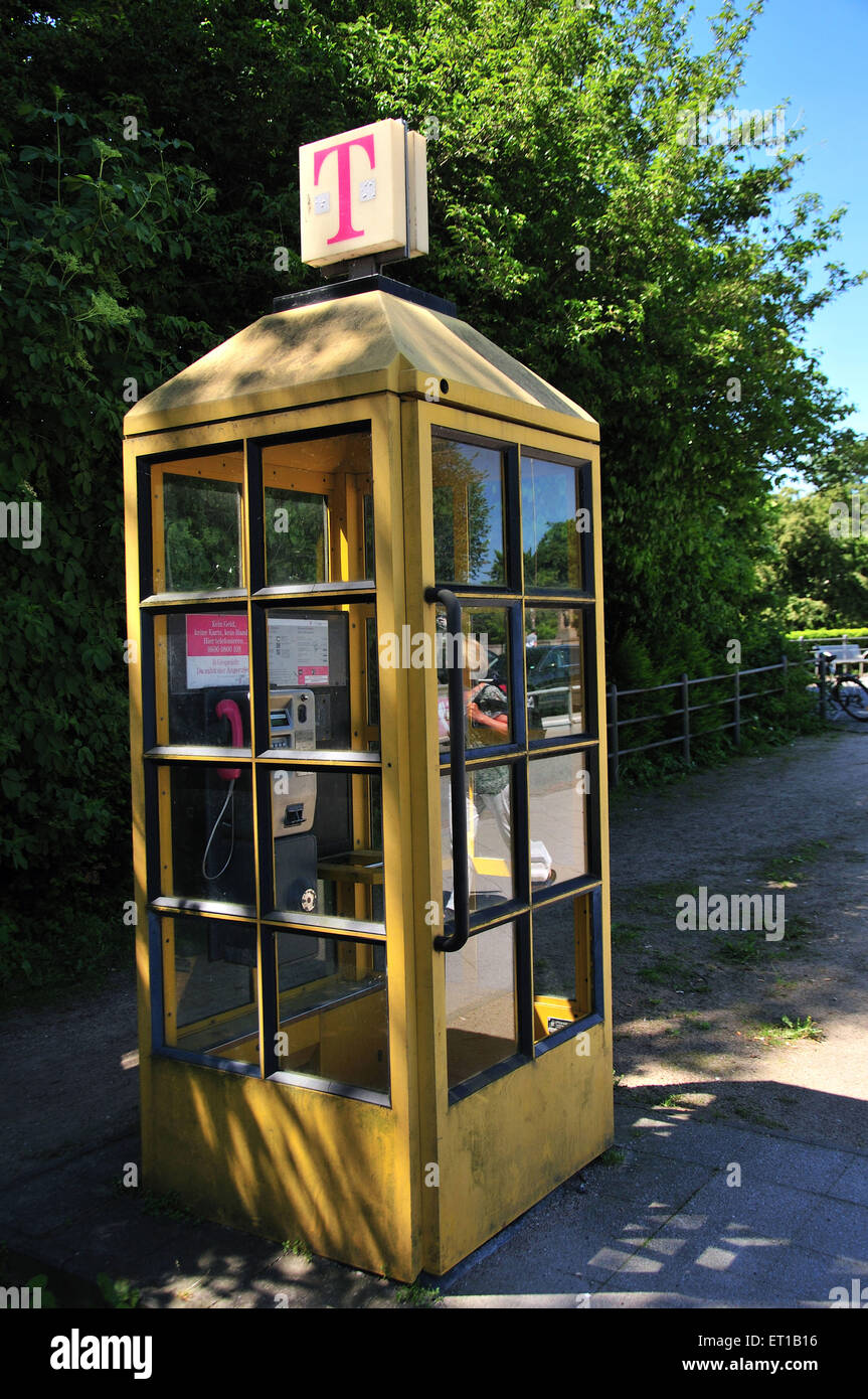 Telephone Booth lubeck germany - Stock Image
