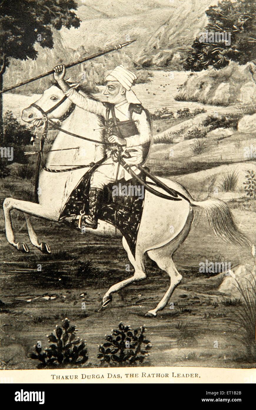 Old picture of thakur durga das rathor leader ; Rajasthan ; India - Stock Image