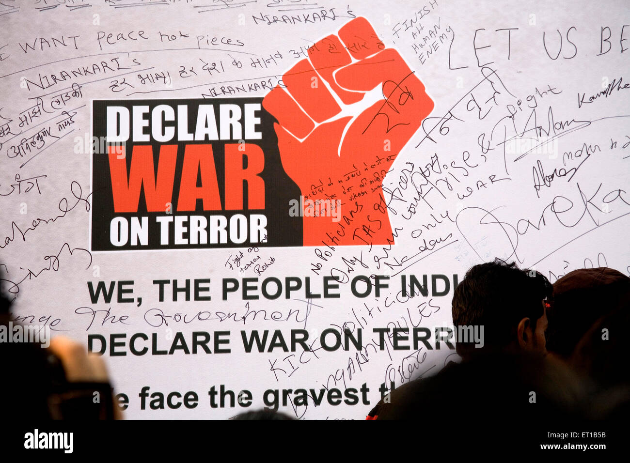 Declare War Terror written white Graffiti wall ; 3rd December ; people protesting terror attacks 26th November 2008 - Stock Image