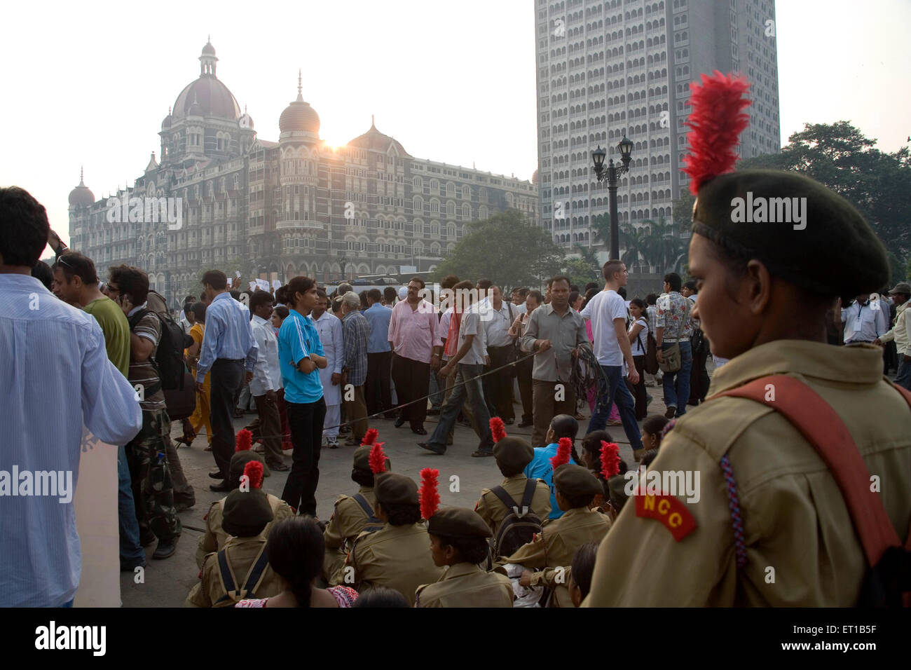 3rd December ; National Cadet Core NCC ; female cadets Taj Hotel ; people  protesting terror attacks 26th November - Stock Image