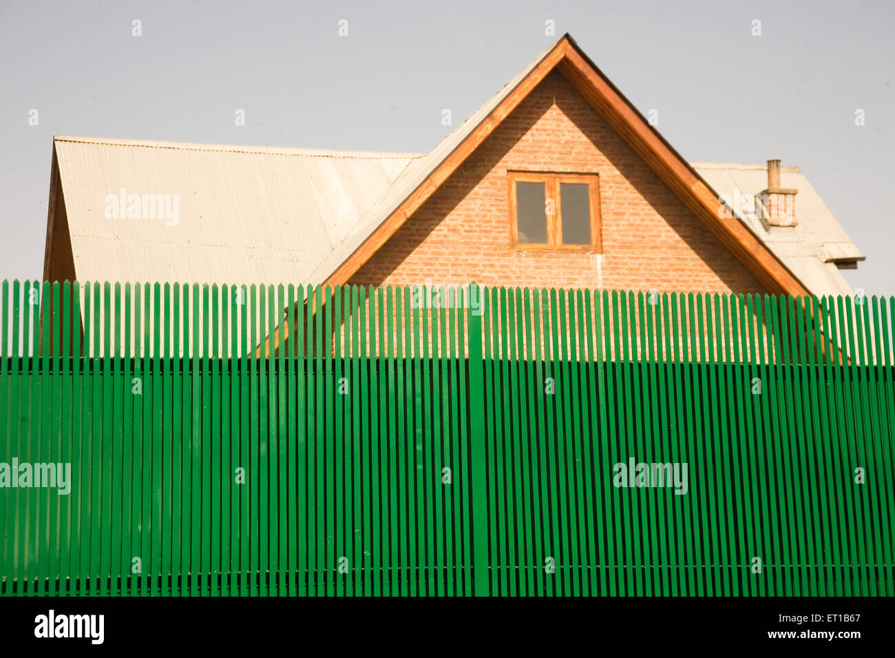 Boundary wall of residential  bungalow  at ; Srinagar ; Jammu and Kashmir ; India - Stock Image