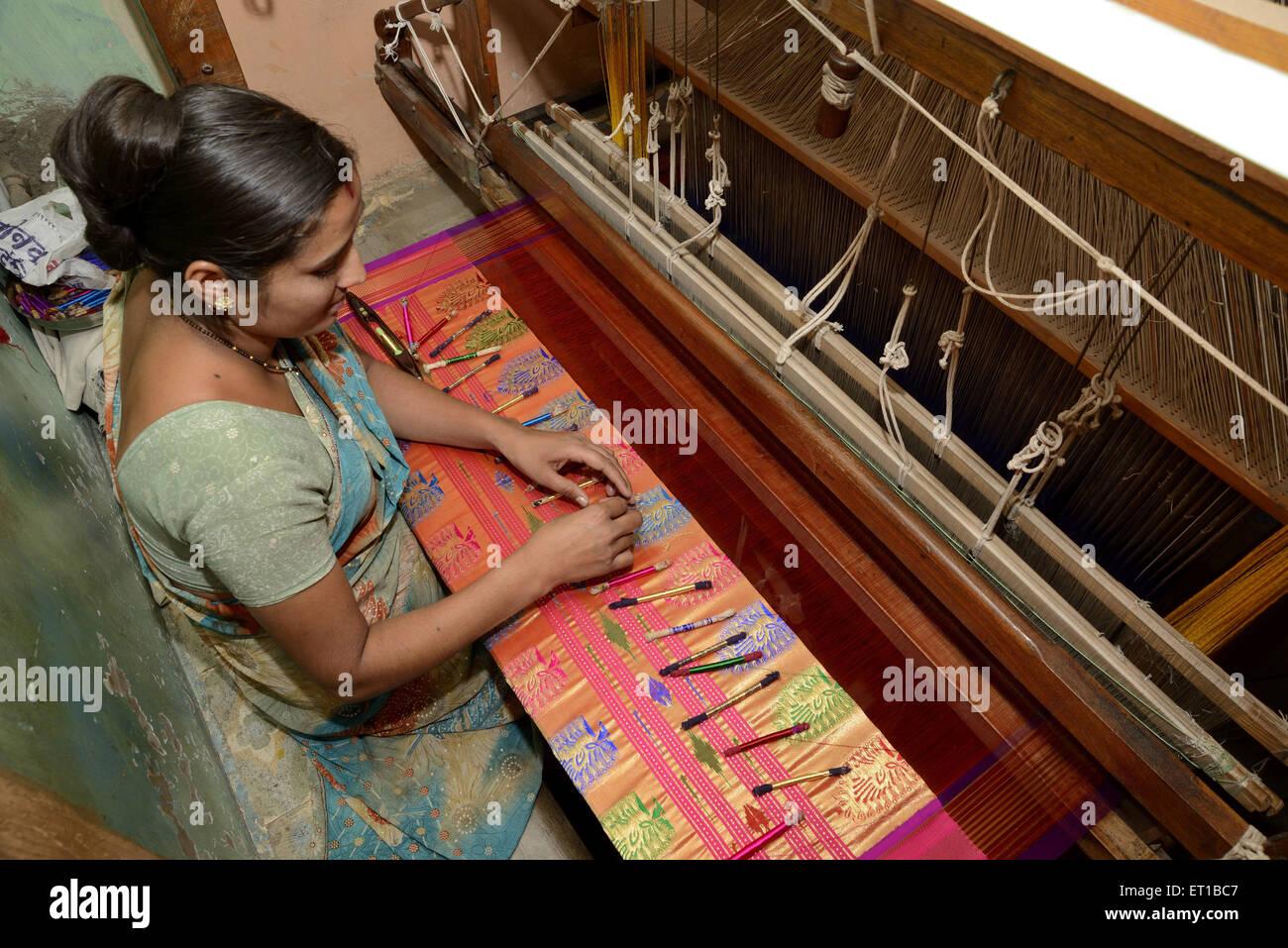 Woman Weaving Saree on Handloom at Maharashtra India Asia Stock Photo