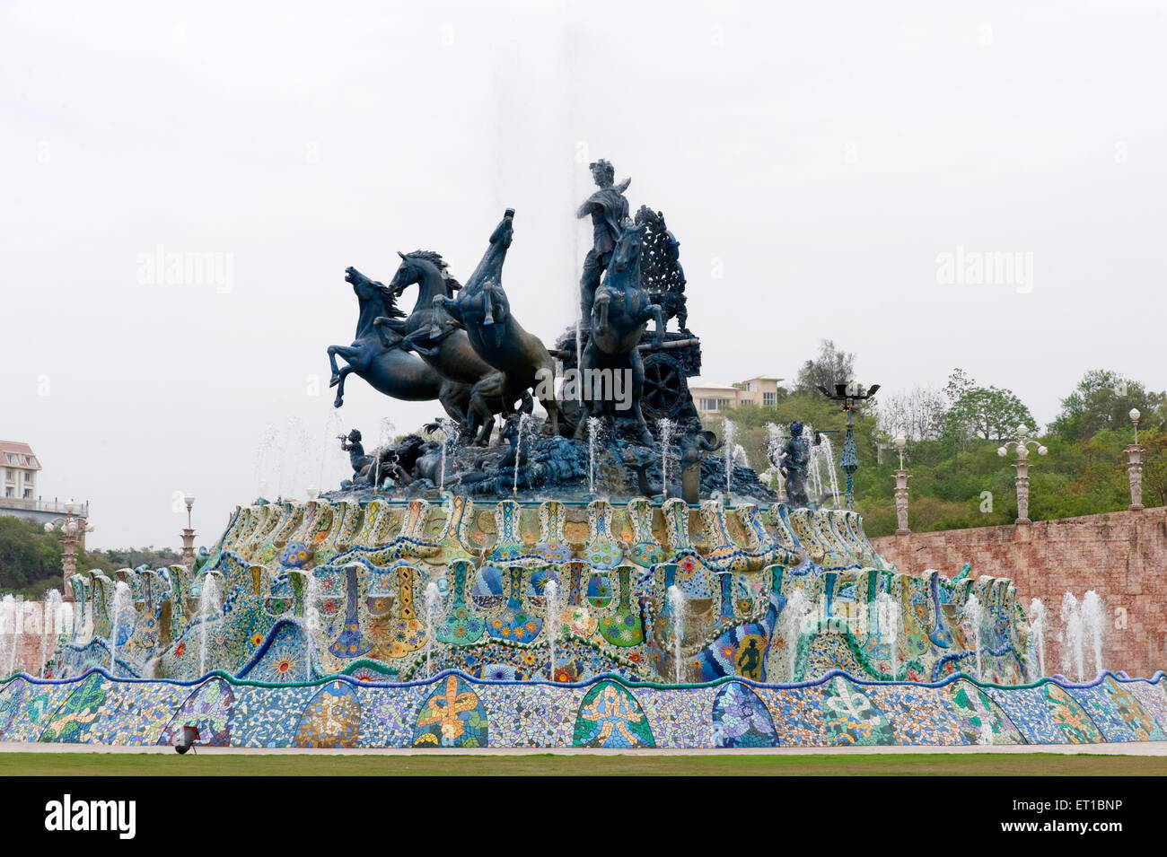 Roman style statue with water fountain at ramoji film city ; Hyderabad ; Andhra Pradesh ; India - Stock Image