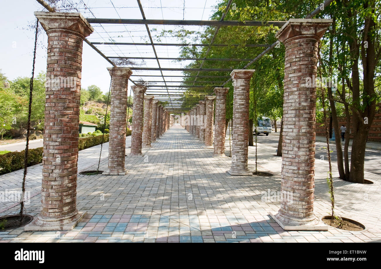 Stone Pillar Path And Garden At Ramoji Film City ; Hyderabad ; Andhra  Pradesh ; India