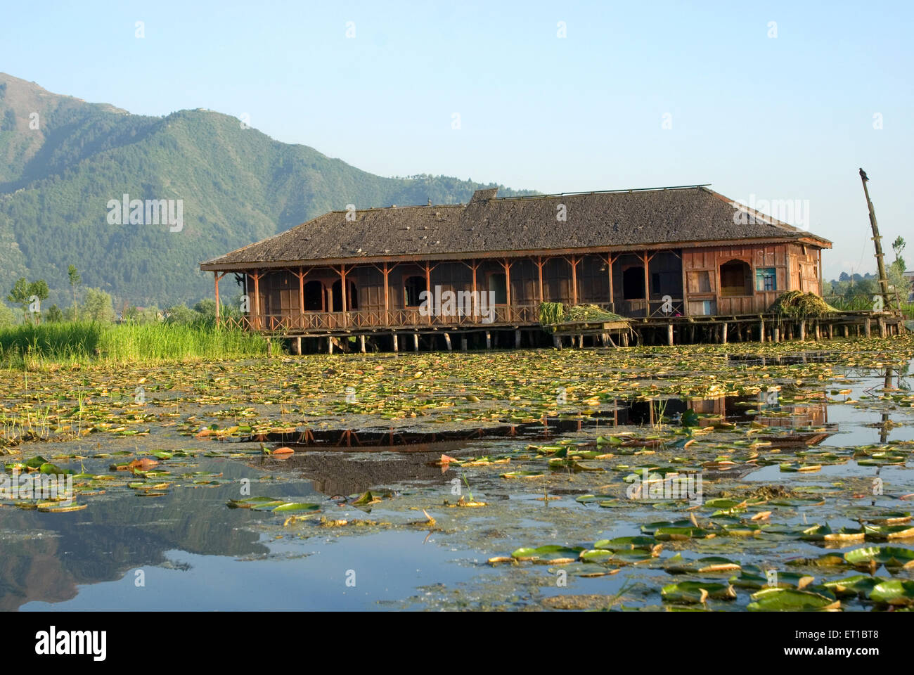Abandoned house boat in dal lake Srinagar Jammu and Kashmir India Asia - Stock Image