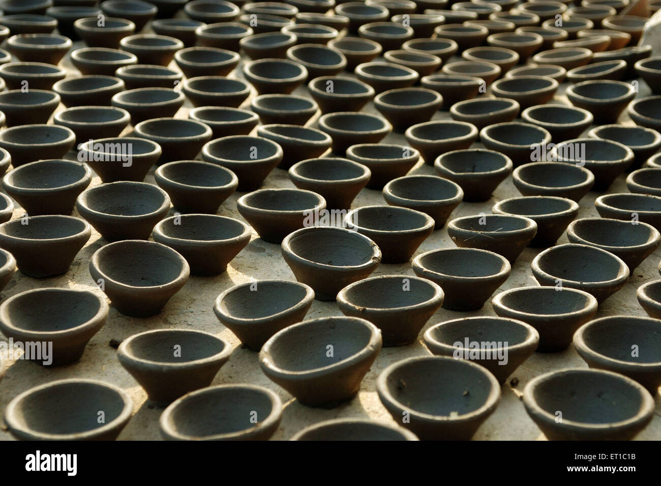 Earthen Lamps for Diwali Jodhpur Rajasthan India Asia - Stock Image