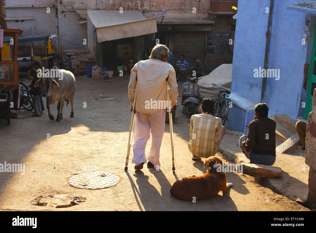 Disabled man walking with sticks ; Jodhpur ; Rajasthan ; India - Stock Image