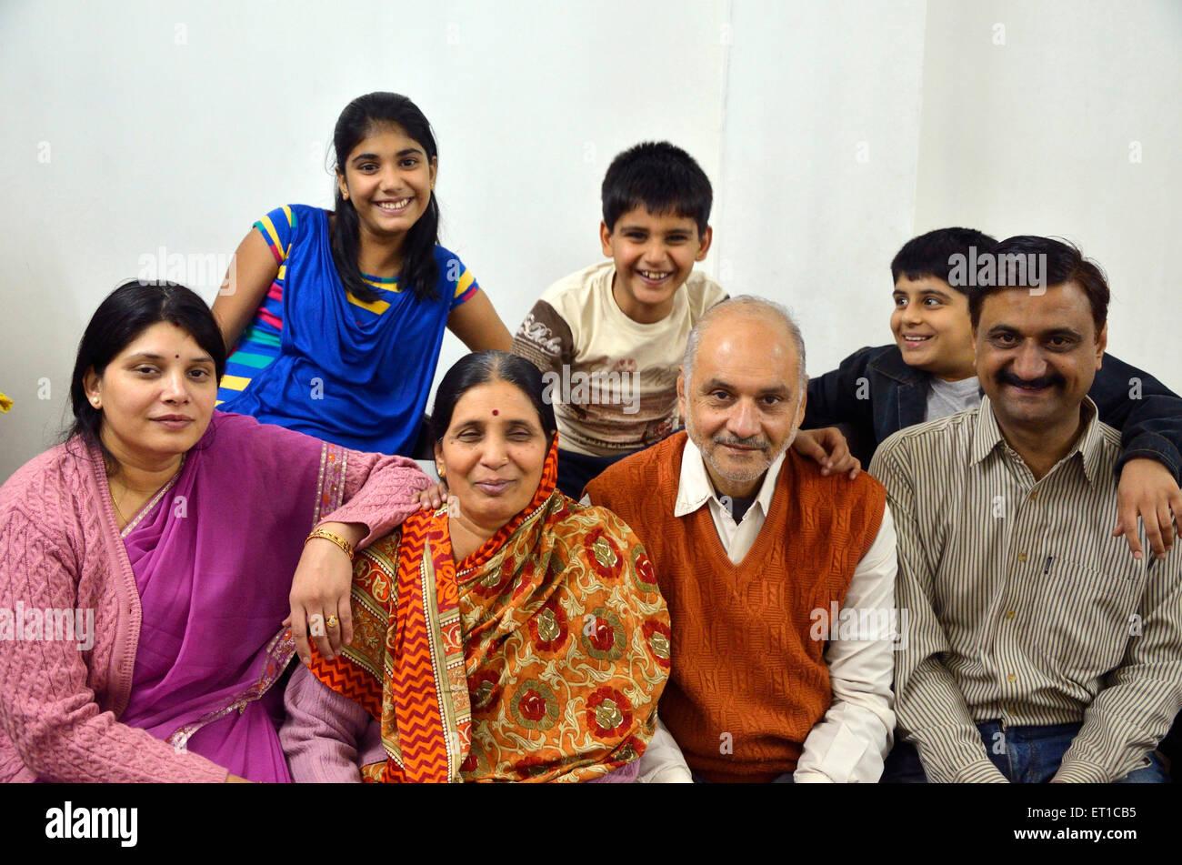 Indian Family Three generation MR#704 Jodhpur Rajasthan India Asia - Stock Image