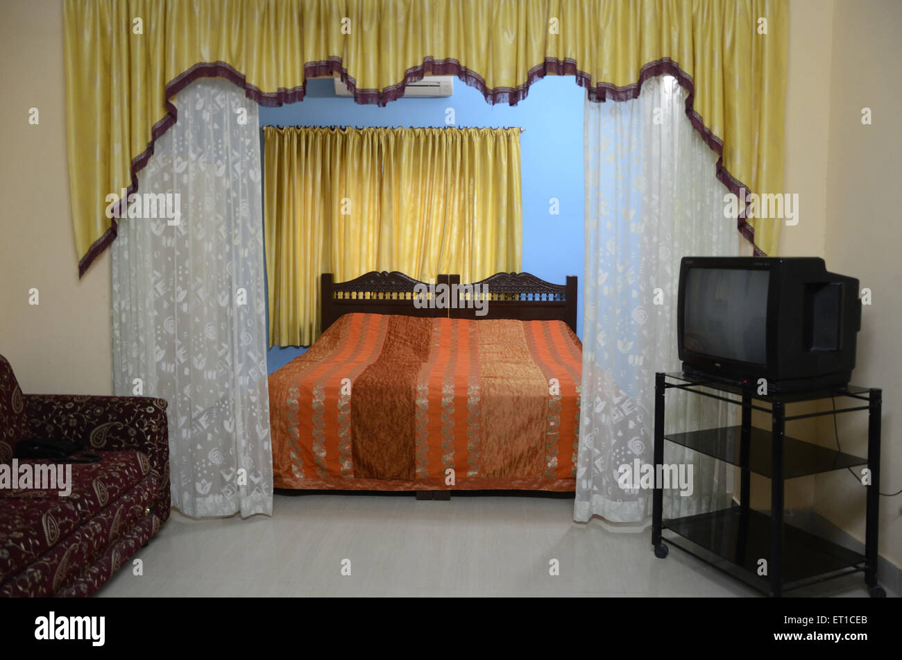 Well furnished room in hotel at Jaisalmer Rajasthan India - Stock Image