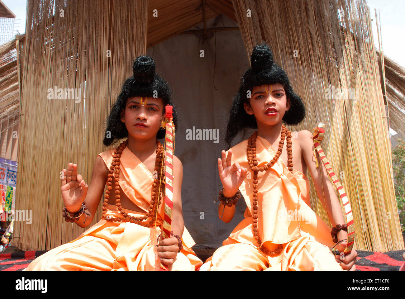 Two young boys as Lav Kush in procession of Ramnavmi ; Jodhpur ; Rajasthan ; India NO MR - Stock Image