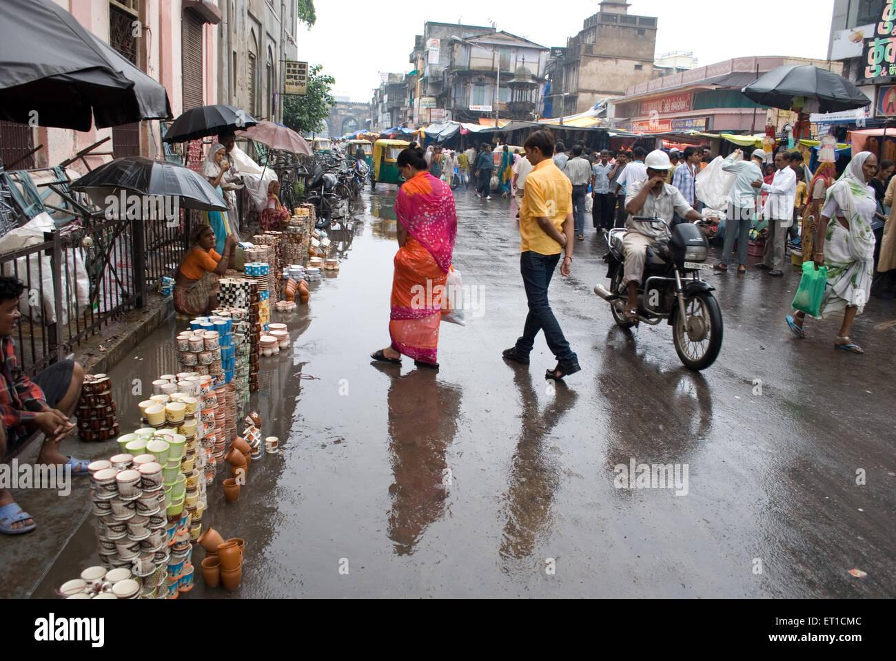 Market scene in monsoon ; Ahmedabad ; Gujarat ; India - Stock Image