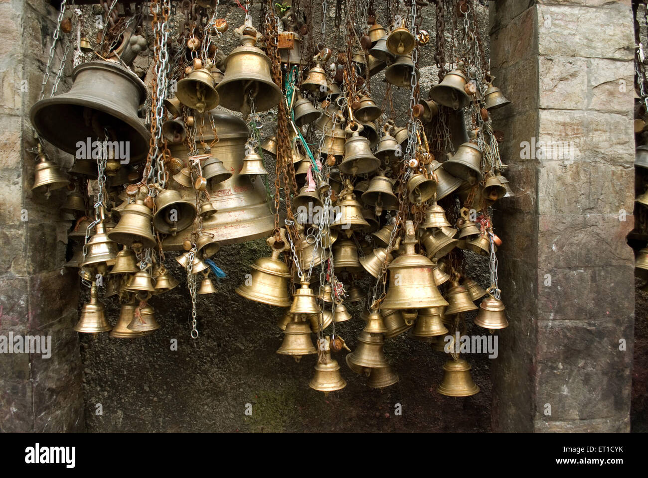 Bells of faith in kamakhya shaktipeeth temple Guwahati Assam India - Stock Image
