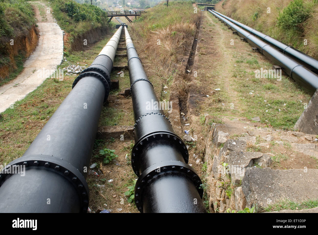 Pipe line for water supply for hydro electricity ; Munnar ; Kerala ; India - Stock Image