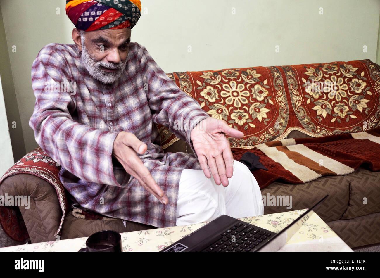 Man Surprise Expression MR#704 Jodhpur Rajasthan India Asia - Stock Image