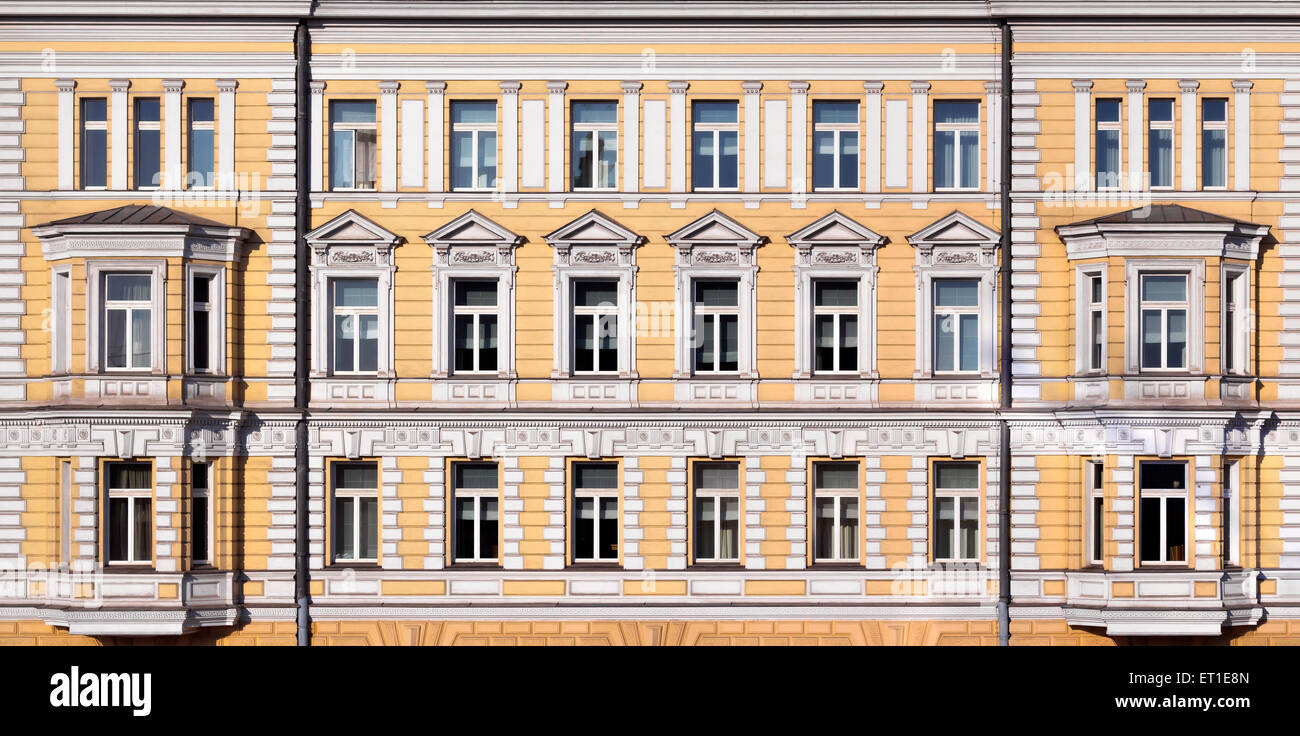Texture of the neoclassic house in Moscow, Russia - Stock Image