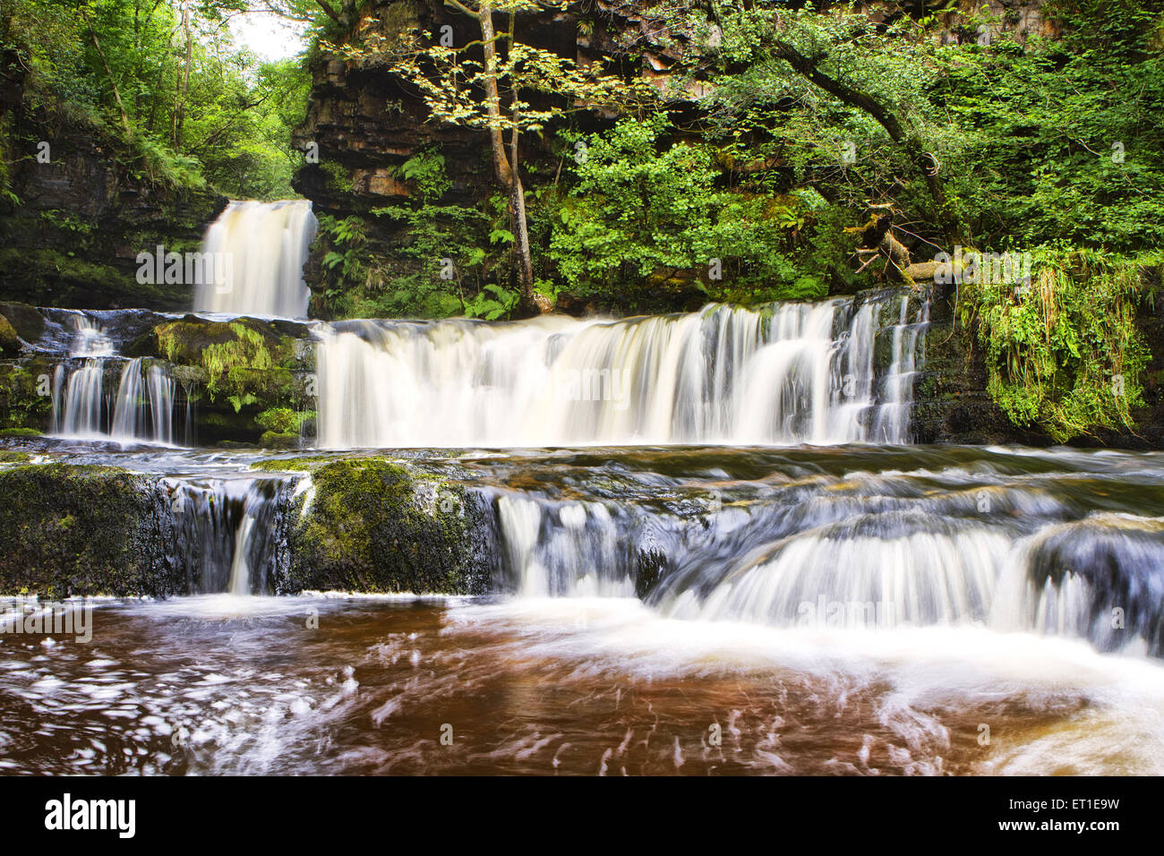 Brecon Beacons National Park waterfalls in Wales at England - Stock Image