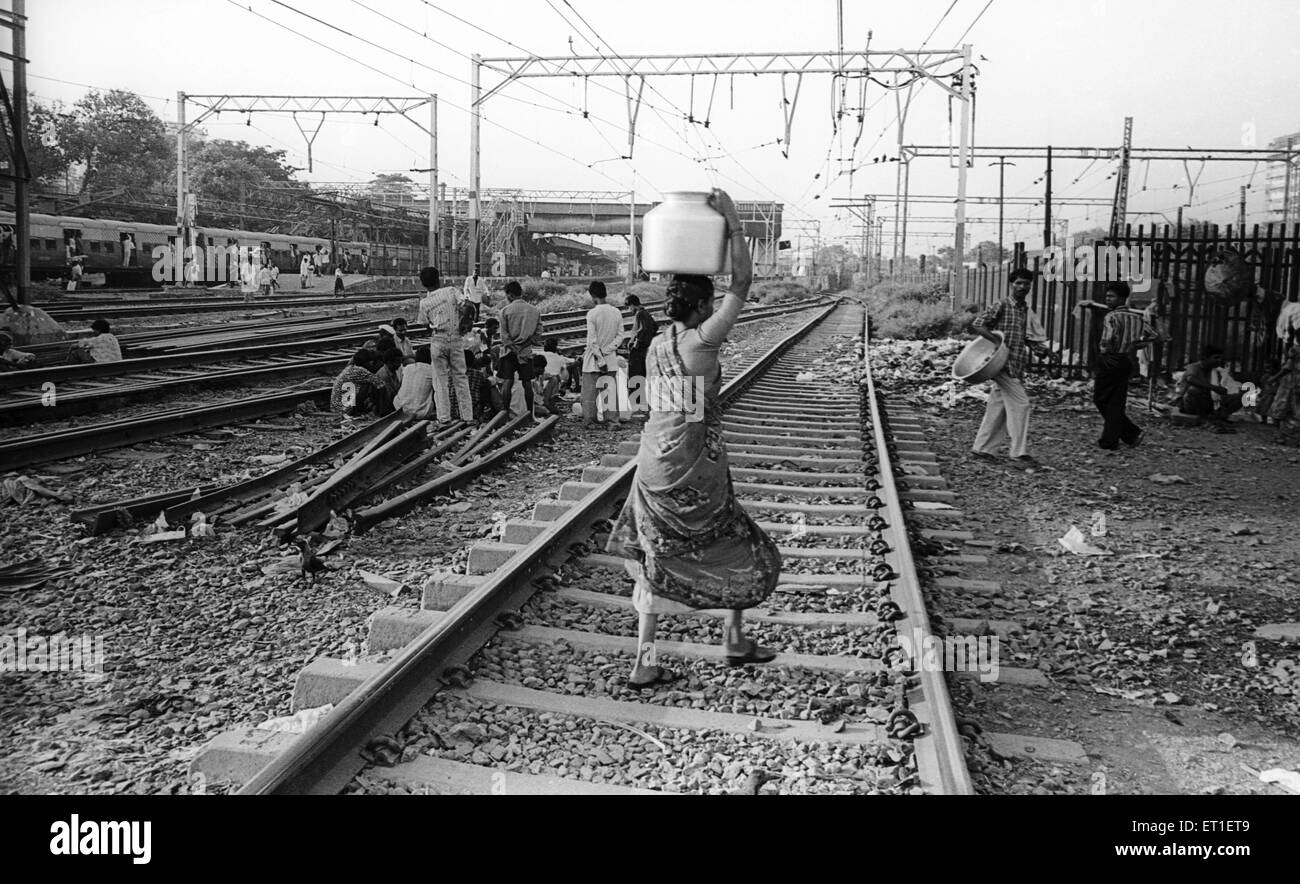 Women carrying water on railway tracks ; Wadala ; Bombay Mumbai ; Maharashtra ; India - Stock Image