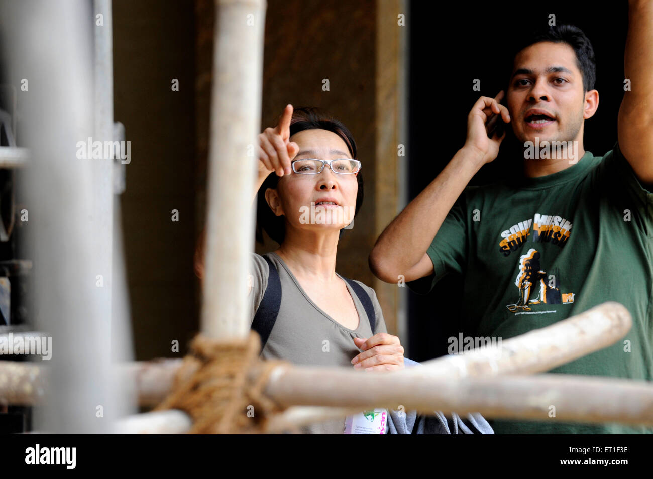 Worried relatives backside of Oberoi Trident hotel ; after terrorist attack by Deccan Mujahideen on 26th November - Stock Image