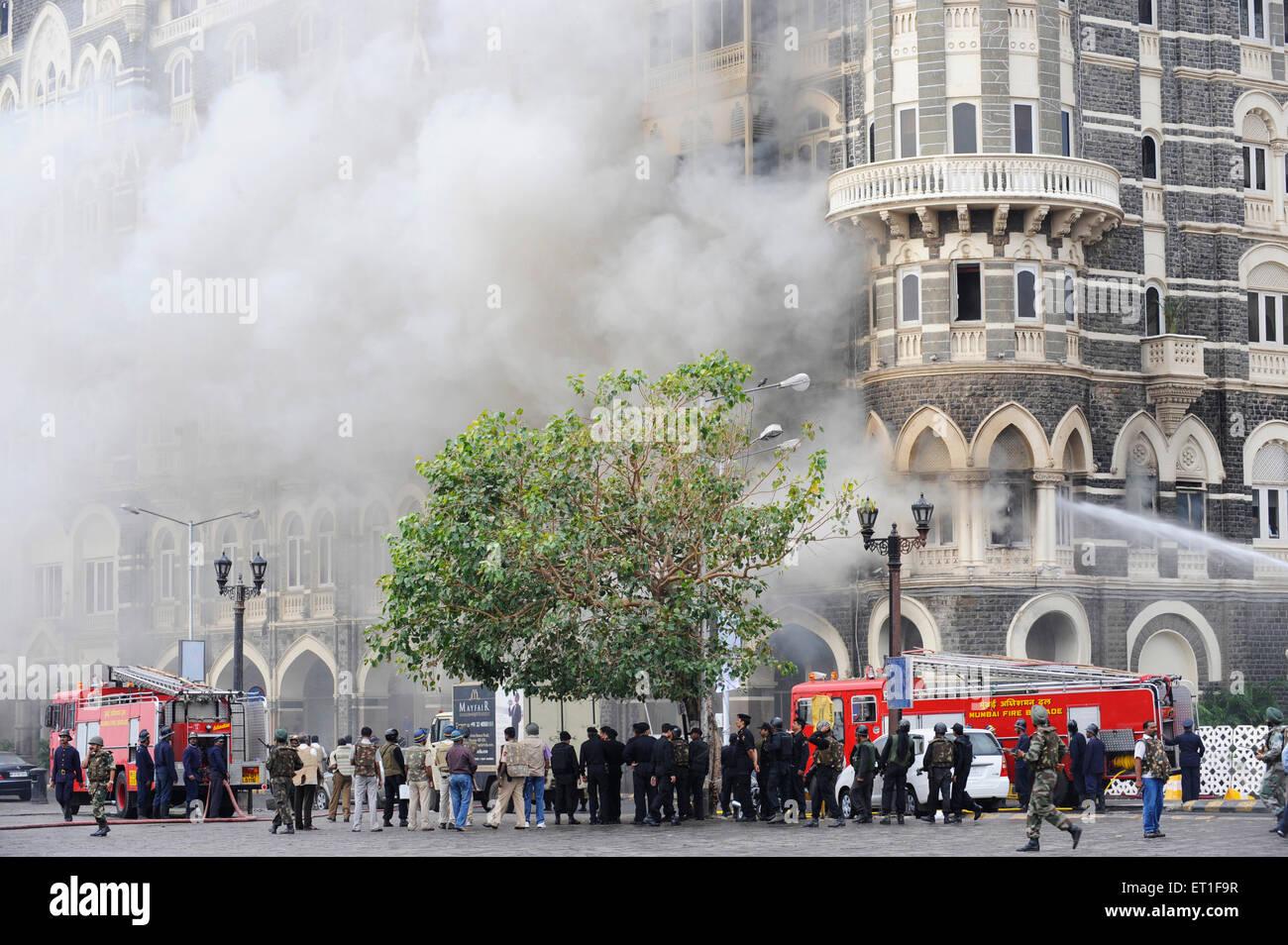 Fire Brigade trying extinguish fire wing Taj Mahal hotel ; terrorist attack Deccan Mujahedeen 26th November 2008 - Stock Image