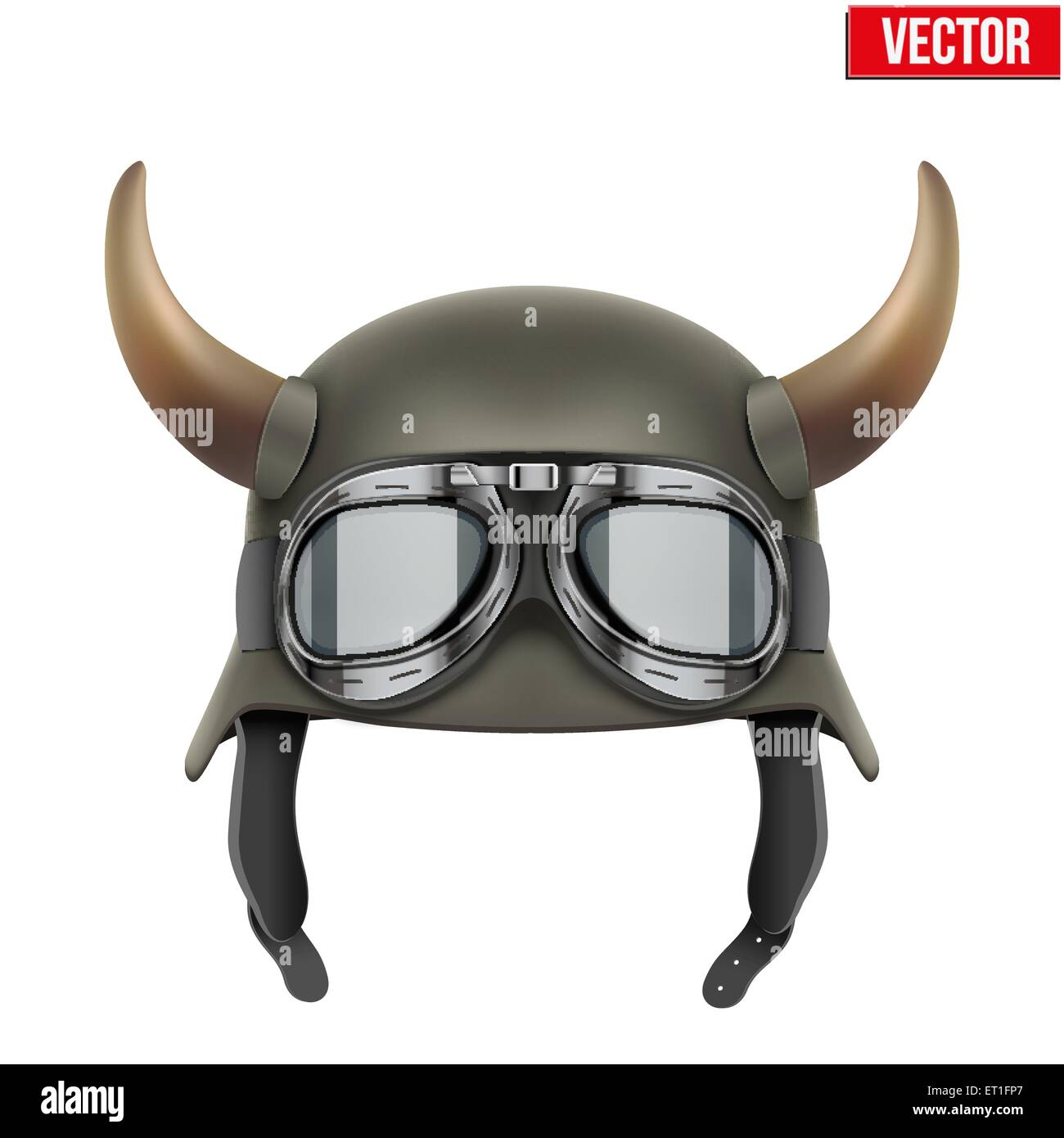 German Army helmet with horns and protective goggles. - Stock Vector