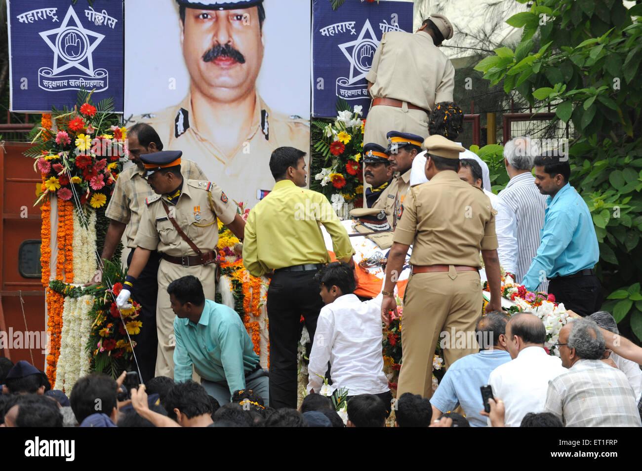 Homage to Chief of Anti Terrorism Squad Hemant Karkare after killed by terrorist attack in Bombay Mumbai ; Maharashtra - Stock Image