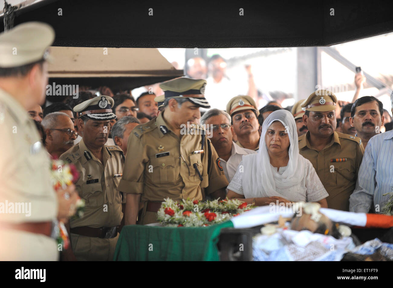 IPS officer Hasan Gafoor A.N. Roy at funeral Anti Terrorism Squad Chief Hemant Karkare killed terrorist attack in - Stock Image