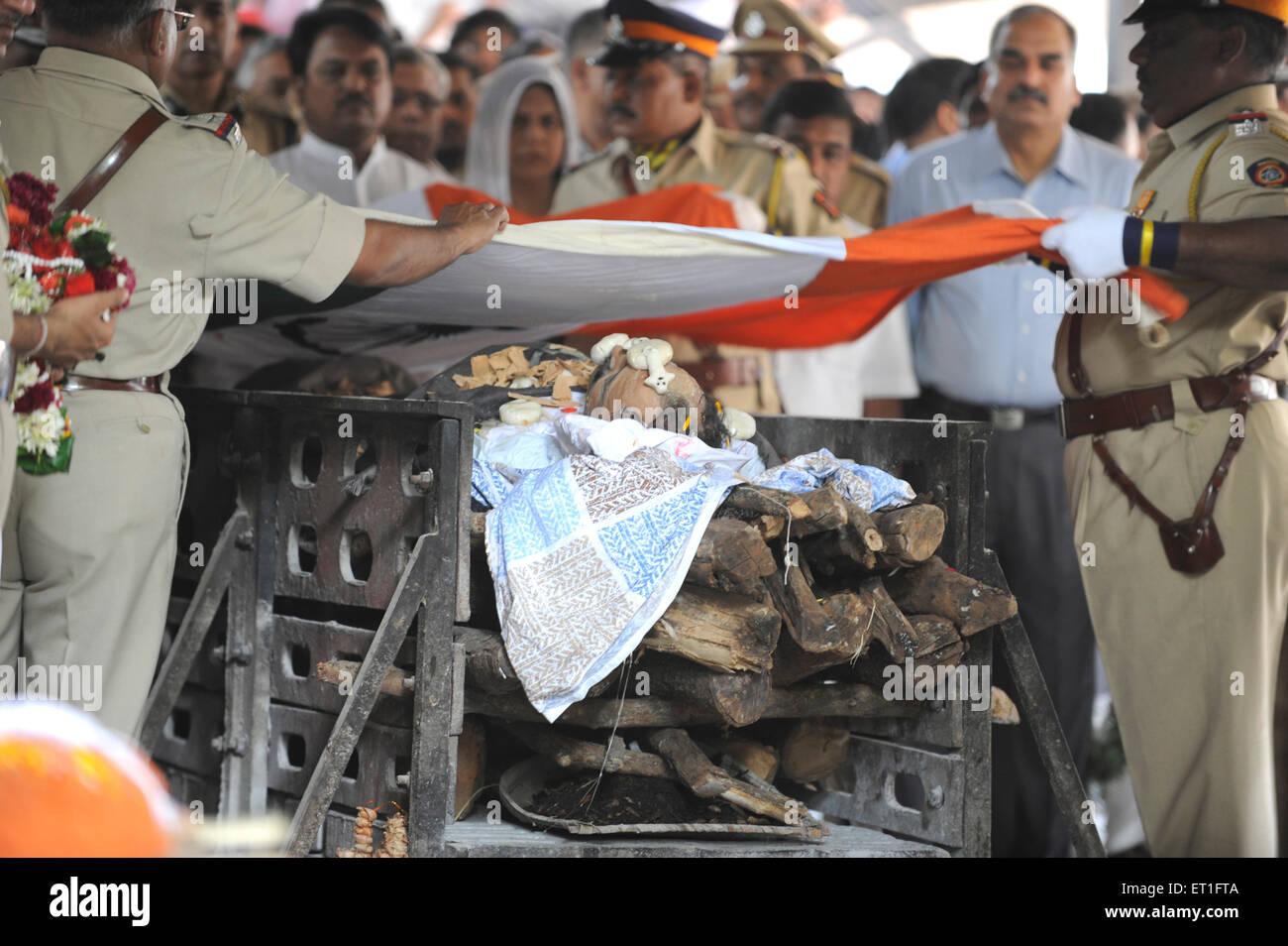 Funeral of Anti Terrorism Squad Chief Hemant Karkare killed by terrorist attack in Bombay Mumbai Stock Photo