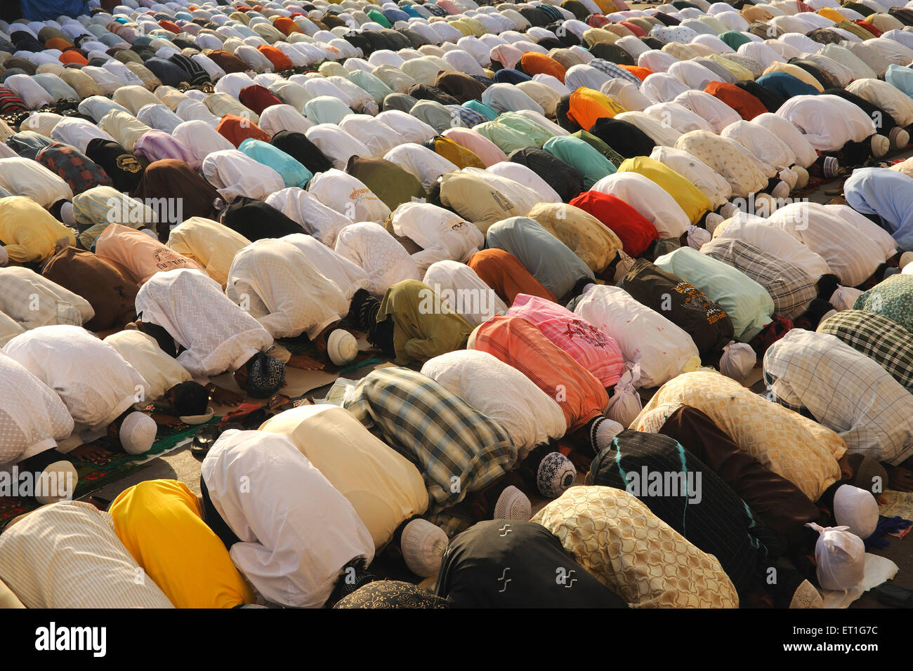 Muslims pray to id al adha on street in Bombay Mumbai ; Maharashtra ; India - Stock Image