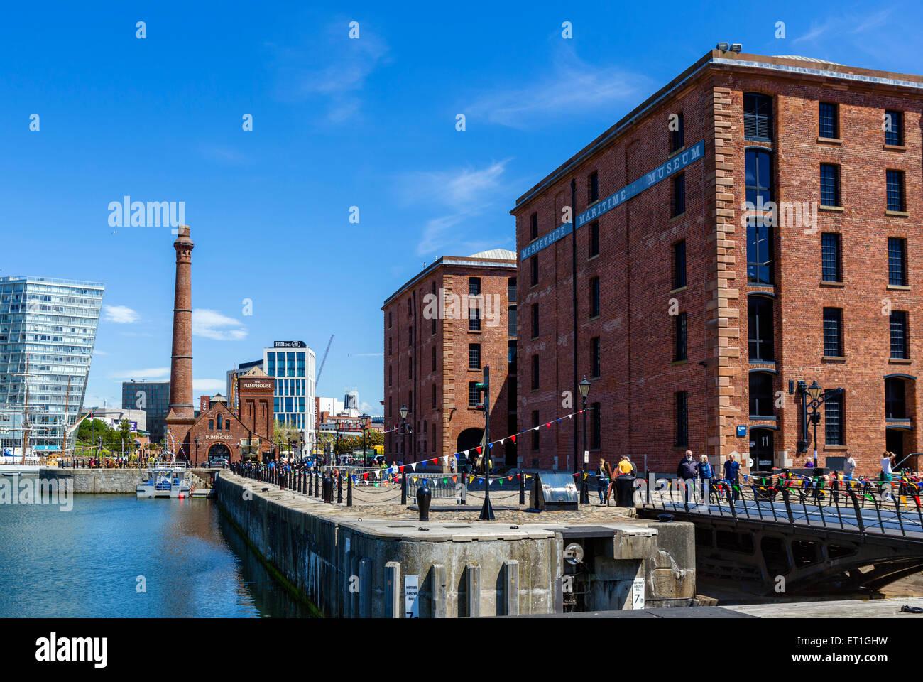 Hartley Quay and the Merseyside Maritime Museum, Albert Dock, Liverpool, Merseyside, England, UK - Stock Image