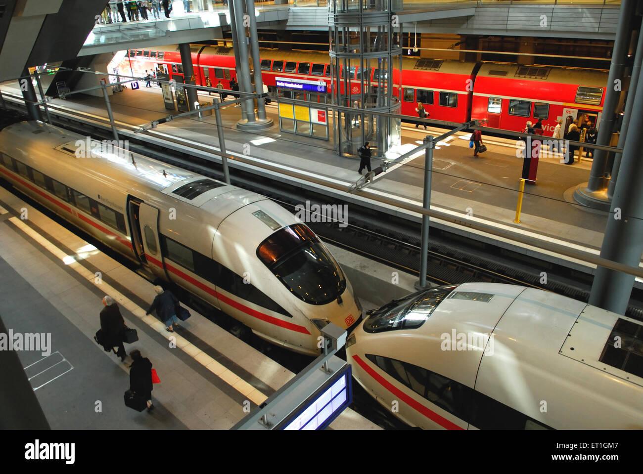 Tgv trains at station ; Germany - Stock Image