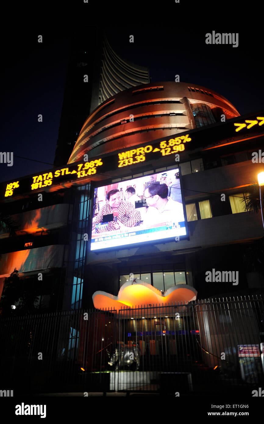 Share rate of companies on screen of bombay stock exchange bse ; Bombay Mumbai ; Maharashtra ; India - Stock Image