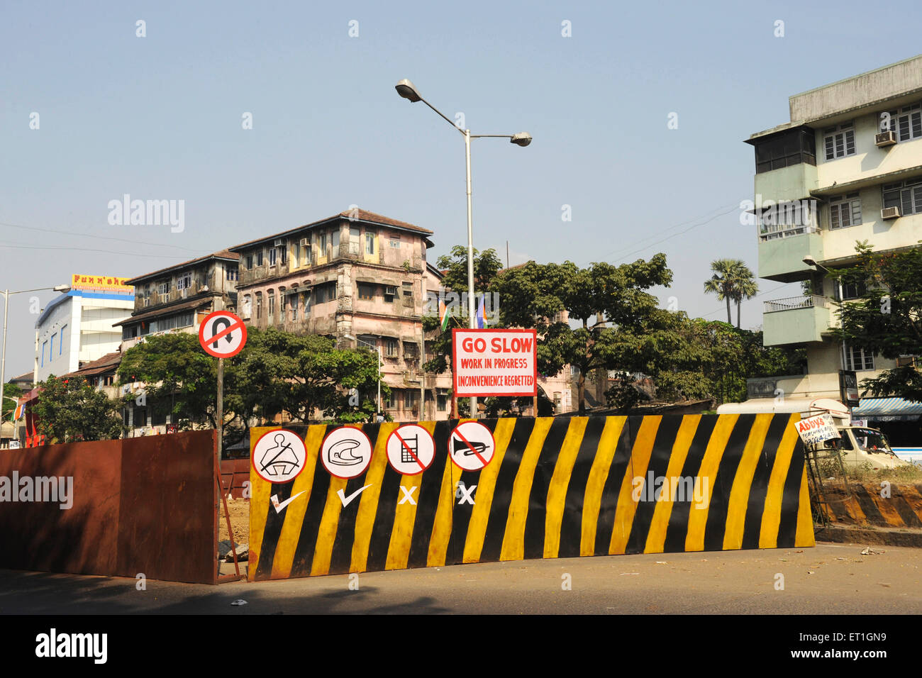 New construction site with traffic sign ; India - Stock Image