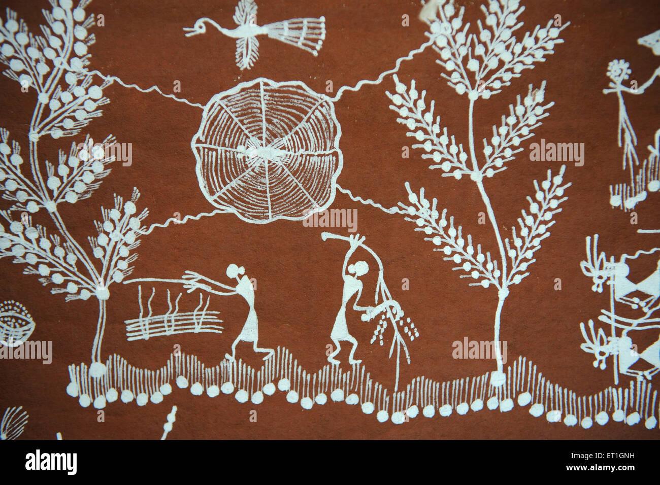 Warli paintings ; Maharashtra ; India - Stock Image