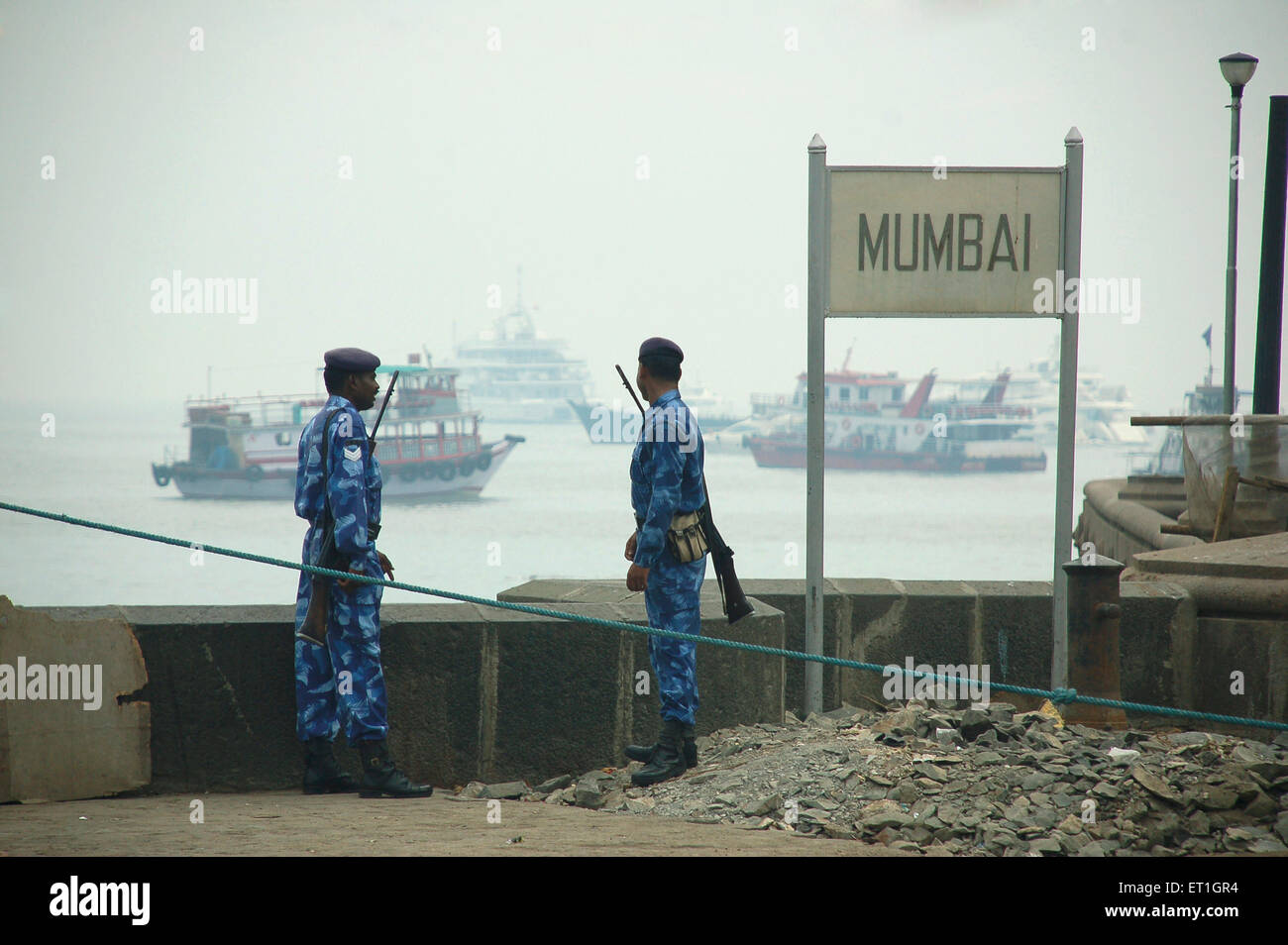 Rapid action force police keep watch coastal area after terrorist attack by deccan mujahideen ; Bombay Mumbai - Stock Image