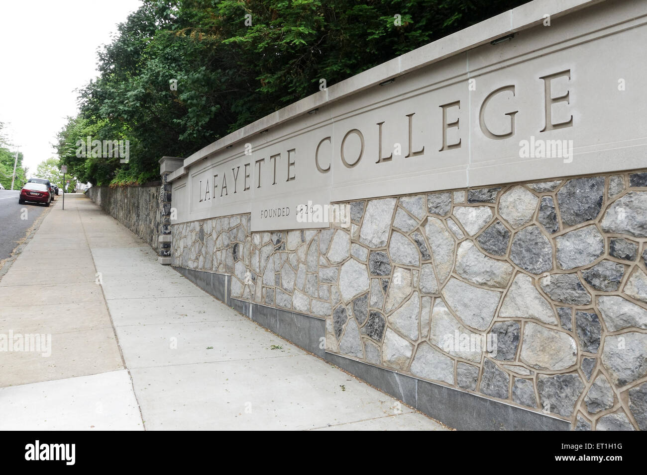 Sign of Lafayette College, private liberal arts college, Easton, Pennsylvania, USA. - Stock Image