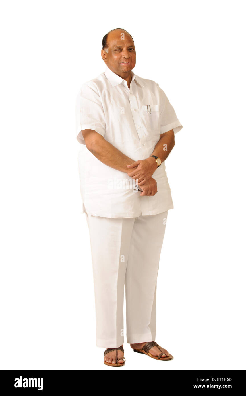 Sharad Pawar president of nationalist congress party and chairman of board of control for cricket India - Stock Image
